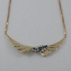 Collier, saphis bleus et diamants, 10K , B7209-2