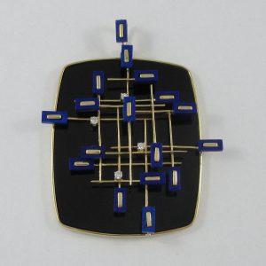 Pendentif, calcédoine noire, lapis lazuli et diamants, 18K jaune, B7214-1