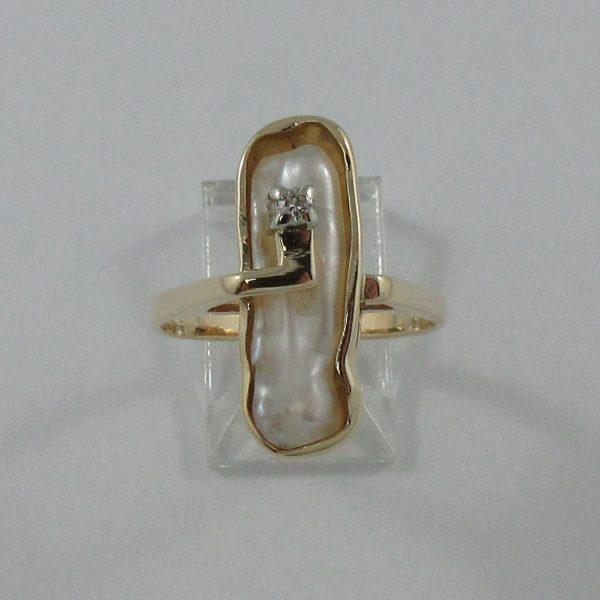 Bague, perle d'eau douce et diamant, 14K , B7225-1