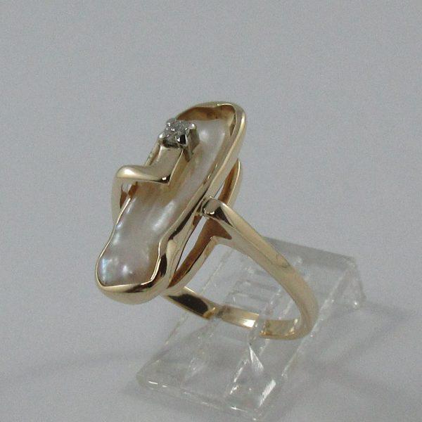 Bague, perle d'eau douce et diamant, 14K , B7225-2