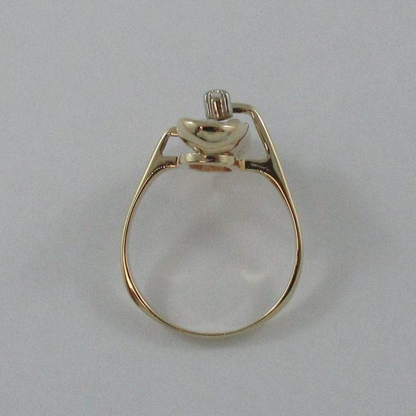 Bague, perle d'eau douce et diamant, 14K , B7225-3