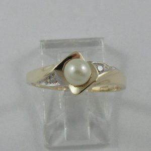 Bague, Akoya et diamants, 10K, B7231-1