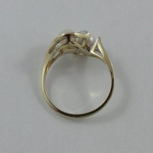 Bague, Akoya et diamants, 10K, B7234-3