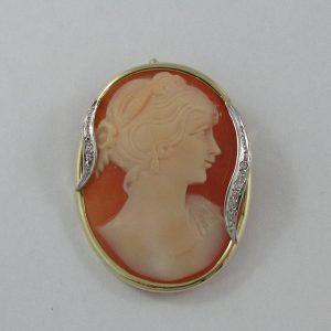 Broche/pendentif, camée coquillage et zircons cubiques, B7235-1