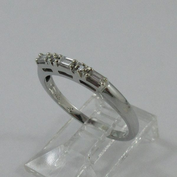 Jonc, 5 diamants, 18K blanc, B7252-2
