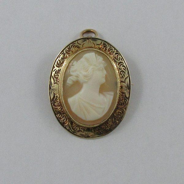 Broche/pendentif, Camée coquillage, 14K jaune,B7260-1